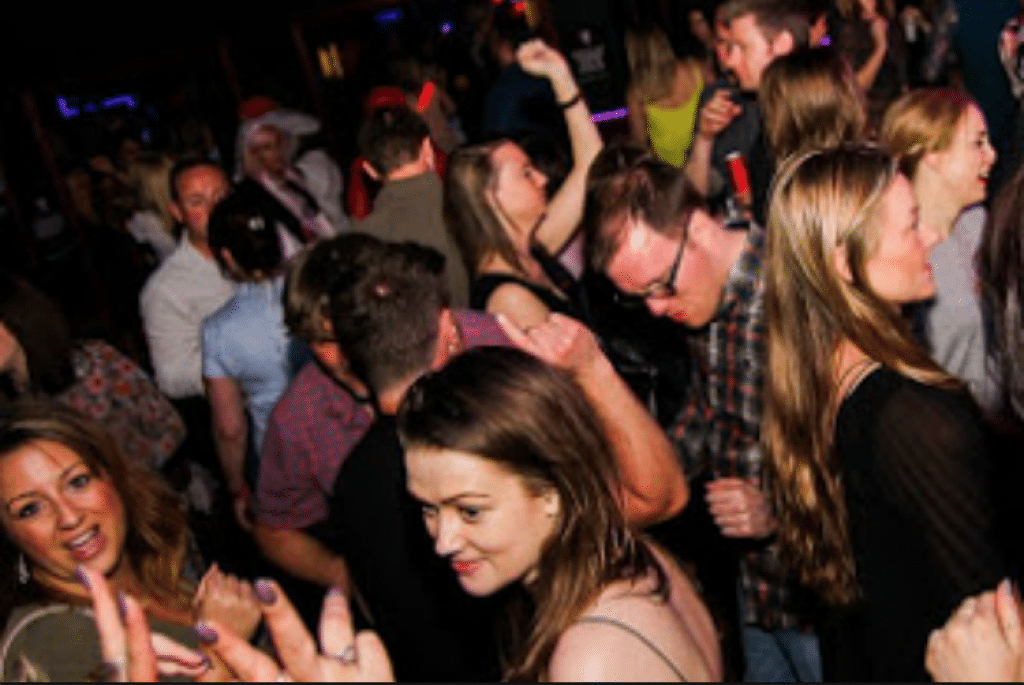 Phot of a large crowd of people partying inside a club in Brighton